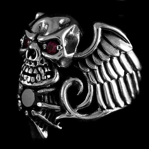 925er Silber Totenkopfring mit Zirkonia Steinen