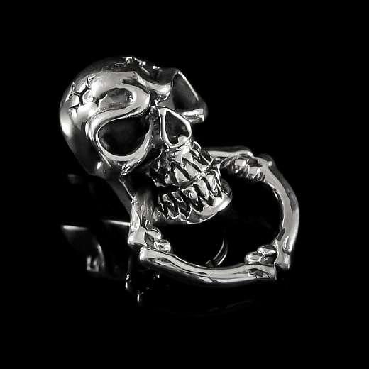 Totenkopf Niete aus Silber mit Beißring