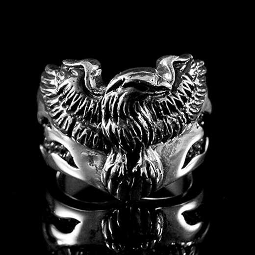 Bikerschmuck Ring mit Adler aus Ag 925 Sterlingsilber