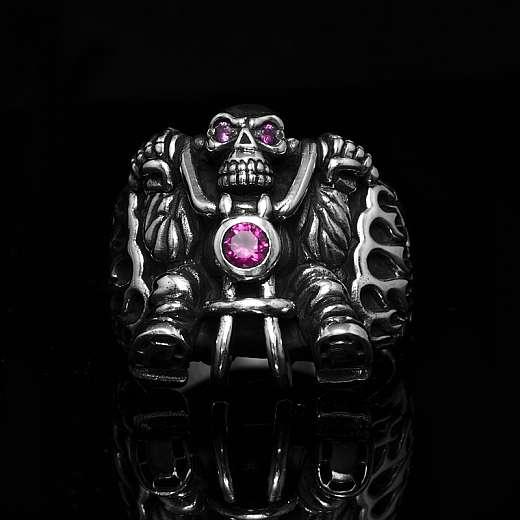 Biker Ring Ghostrider mit pinkem Zirkonia Stein