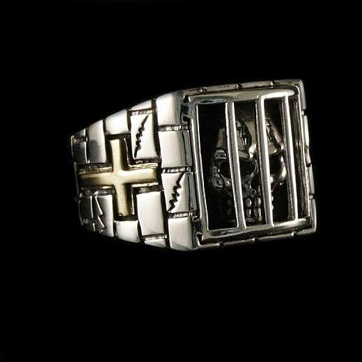 Totenkopf Ring mit Kreuz aus 925er Sterlingsilber