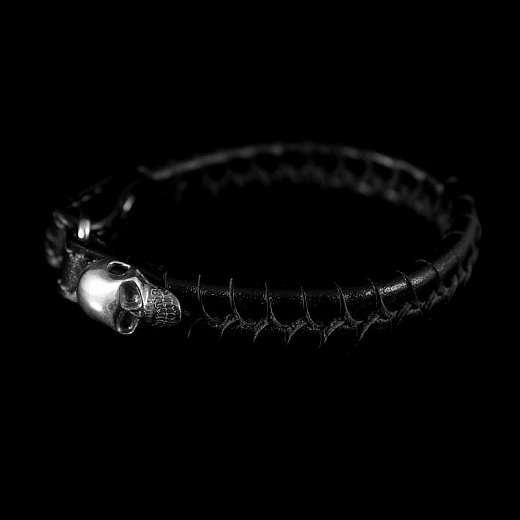 Leder Armband geflochten mit Totenkopf - Neuauflage