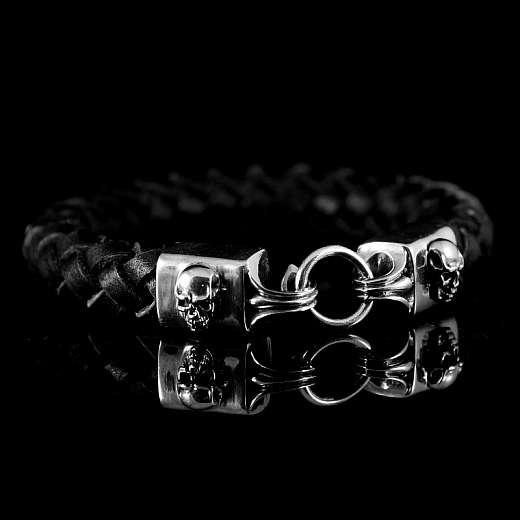 Leder Armband geflochten mit Totenkopf