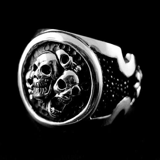 AG 925er Sterling Silber Skull Ring mit Rochenleder