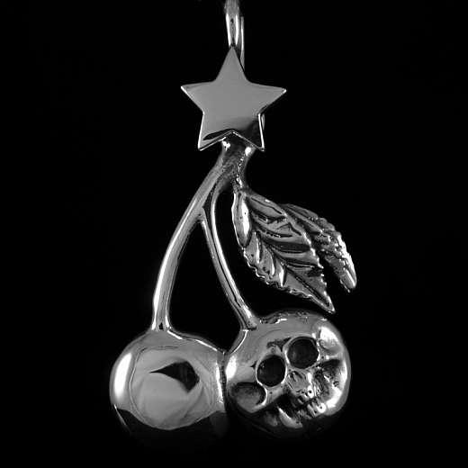 Rockabilly Totenkopf Anhänger mit Kirsche aus Silber