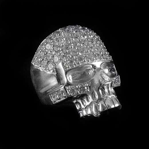 Totenkopfring aus 925er Sterling Silber mit Zirkonia Steinen