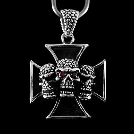 Skull Anhänger aus 925er Silber mit Kreuz