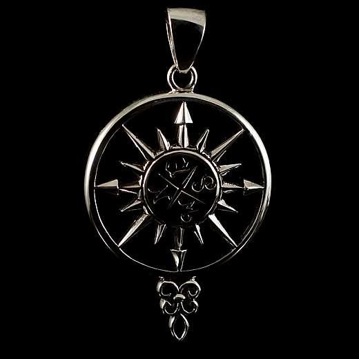 Anhänger Windrose Kompass aus Silber