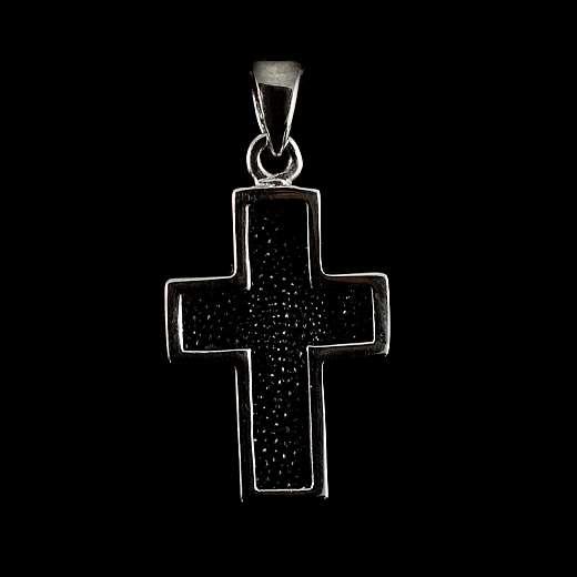 Anhänger Kreuz mit  Rochenleder