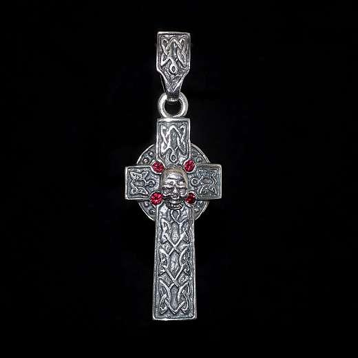 Anhänger Kreuz von Customringz mit roten Steinen