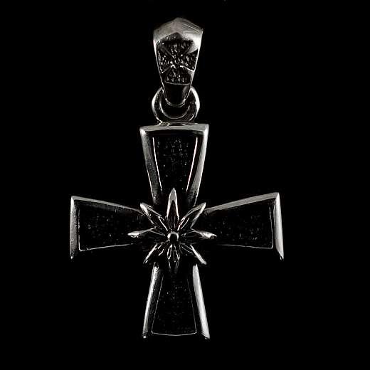 Anhänger Templer Kreuz mit einem Edelweiss und Rochenleder verziert