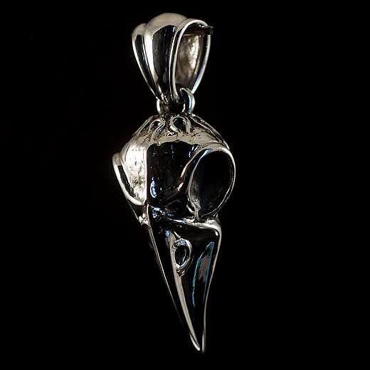 Biker Schmuck Anhänger mit Vogel Schädel aus Silber