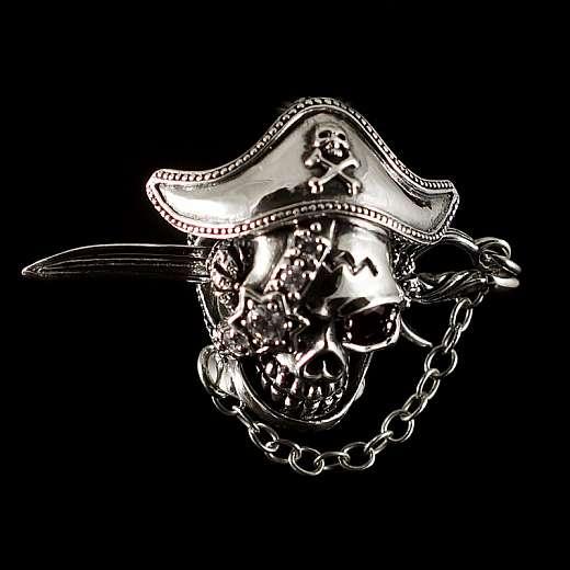 Bikerschmuck Totenkopf Anhänger als Pirat mit Säbel