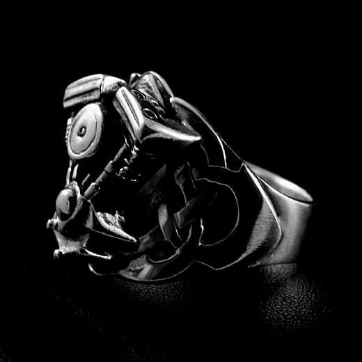 Bikerschmuck Ring Harley Motor Shovelhead