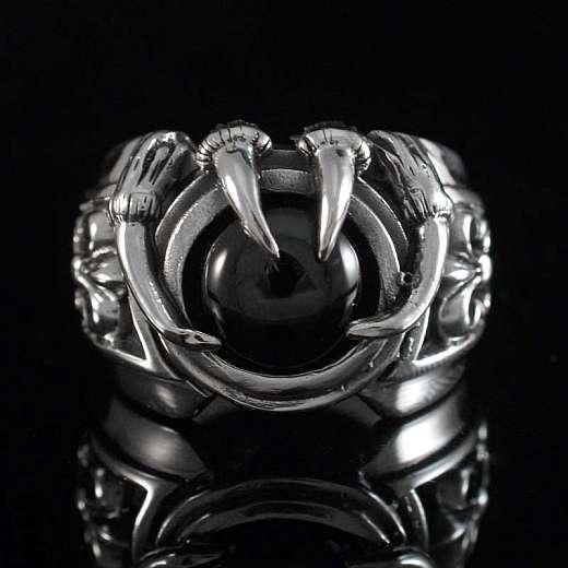Gothic Krallenring mit schwarzem Stein