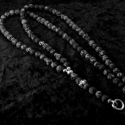 Kugelkette aus Snowflake Obsidian, Bikerschmuck mit Templerkreuz
