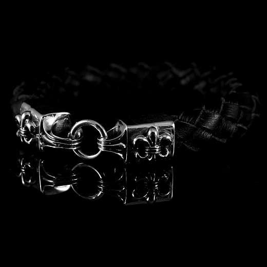 Leder Armband geflochten mit Fleur de Lys