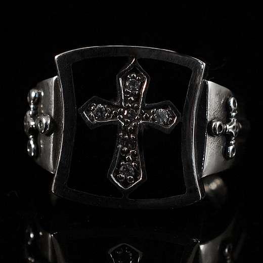 Wappen Ring mit Kreuz und Schwert