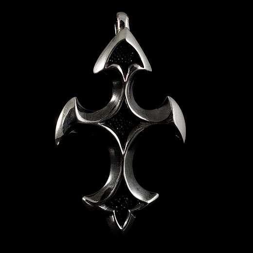 Templer Schmuck Anhänger als Kreuz mit Rochenleder