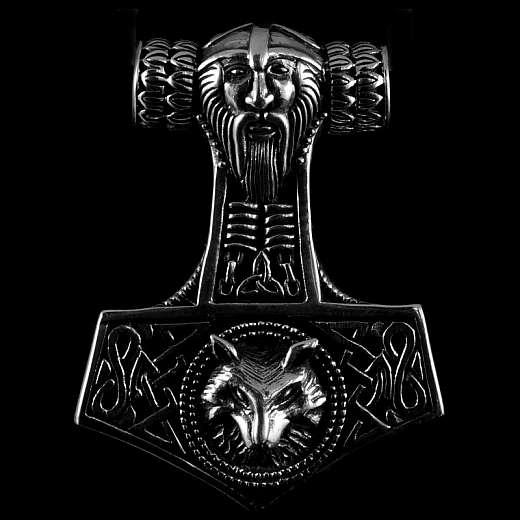 Thors Hammer Anhänger mit Thor Kopf