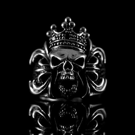 Totenkopf Gothic Ring mit Krone