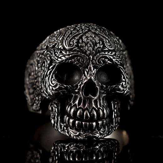 Totenkopf Ring mit Gravur
