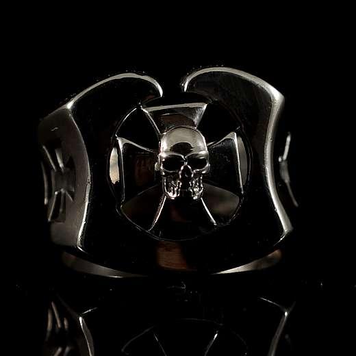 Totenkopf Schmuck Ring mit Templer Kreuz