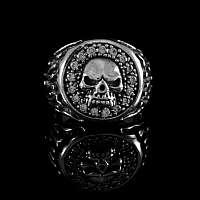 Totenkopf Ring mit Flammen aus Ag 925 Sterlingsilber