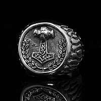 Ring mit Siegel Thors Hammer aus Ag 925er Sterlingsilber