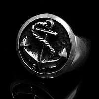 Massiver Ring mit Anker aus 935er Silber - Bootsmann small