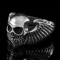 Totenkopfring mit Flügel 925er Silber