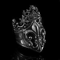 Ring mit Lilie und Krone aus Sterlingsilber