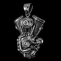Bikerschmuck Anhänger V2 Motor aus Sterling Silber