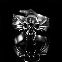 Bikerschmuck Vampir Totenkopf Ring aus Ag 925 Sterlingsilber