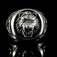 L�wenkopf Ring mit Templerkreuz aus Ag 925 Sterlingsilber
