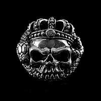 Totenkopf Niete mit Krone und Zirkonia