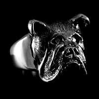 Ring aus Silber Motiv Hund - Bulldogge