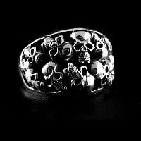 Totenkopf Ring aus AG 925er Silber mit Skulls