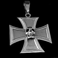 Totenkopf Anhänger auf Ritterkreuz aus 935er Silber