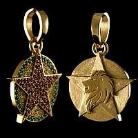 Anhänger mit Stern, Löwe und Edelsteinen aus 750er Gelbgold