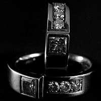 Eheringe aus Weissgold mit Diamant und Brillianten