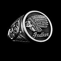Siegelring mit Verzierungen und einem Indianer 935er Silber