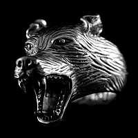 Ring mit Kopf vom Wolf aus 935er Silber