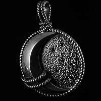Anhänger aus massiv 935er Silber mit Mond und Saphiren