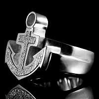 Anker Ring mit einer Stahleinlage aus 935er Silber
