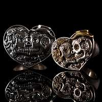 Eheringe mit Totenkopf im Chicano Style aus 935er Silber