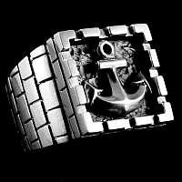 Ankerring (Smutje big) aus 935er Silber mit oder ohne Tau