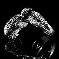 Alien Style Biker Ring aus AG 925er Sterling Silber