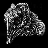 Ring einer Eule mit roten Zirkonia Steinen 925er Sterlingsilber