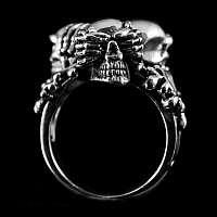 Totenkopf Ring 3 Skull Affen aus 925er Silber